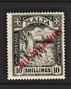 MALTA. 1922. GV 10/- BLACK DEFINITIVE Optd SELF-GOVERNMENT. MSCA. VLMM. Sg.121