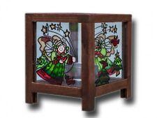 Windlicht 97627 Holz mit Glaseinsatz Motiv Engel und Tannen HxB 11x9.5cm