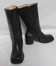 Women's Lady Yannin Black Leather Mid-Calf Fashion Boots Sz 9 M