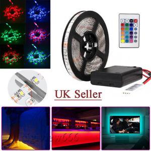 1-5M LED Strip Lights 5V 3528 RGB Dimmable TV Back Lighting Watrproof +Remote UK
