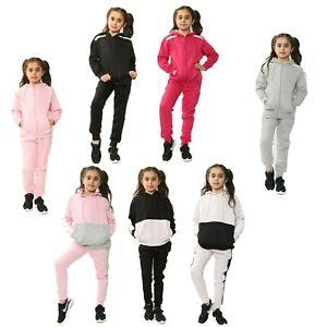 Girls Fleece Tracksuit Kids Gym Sports Hooded Pants Bottoms Zip Up Hoodie Age