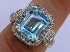 R232 Genuine 9ct Gold Huge NATURAL Topaz & Diamond Cocktail Ring size N