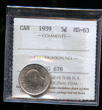 1939 Canada 5 Cents ICCS Certified MS63 DCB190