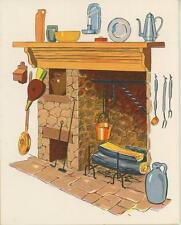 Vintage Fireplace Andiron Log Kettle Bellow Cooking Hearth Coffee Pot Card Print