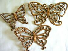 Vintage Mcm Brown Homco 1970's Butterfly Wall Hanging Plaques Wood Look Set of 3