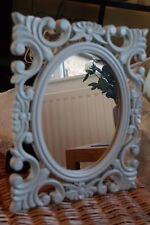 BNIB Light Sage Wooden Carved Mirror - Wall Hanging Freestanding - 36cm x 20cm