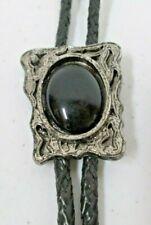 Vintage Western Bolo Tie Black Plastic Stone Silver Tone Metal Pendant