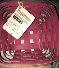 Longaberger ~ July 2013 Booking Basket PINK INSIDE Warm Brown HOH ~7-1/4 x 3-1/2