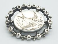 Victorian Sterling Silver Aesthetic Movement Brooch - Bird Flying in the Reeds -