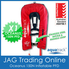 AQUATRACK OCEANUS RED INFLATABLE PFD MANUAL & HARNESS - ADULT LIFE JACKET 150N