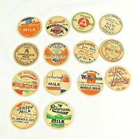 """Lot of 14 Different Vintage Milk Bottle Caps 1.25"""" in Diameter"""
