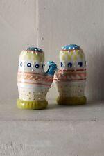 """Anthropologie Salt Pepper SISI HEDGEHOG Shakers Set Handpainted 2.75/"""" NWT"""