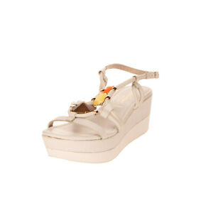 RRP €105 CAFENOIR Leather Slingback Sandals EU 39 UK 6 US 9 Wedge Made in Italy