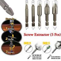 5Pcs/Set Premium Screw Extractor Set Bolt Drill Bits Mintiml Screw Easy Out Kit