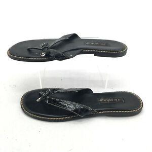 Brighton Ofelia Flip Flop Thong Sandals 7.5M Womens Casual Flats Leather Black