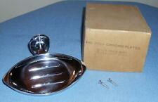 VTG BATHROOM KITCHEN WALL MOUNT CHROME OVAL SOAP DISH & SCREWS NOS IN BOX #2639