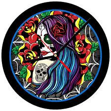 """8"""" WALL CLOCK Sugar Skull 23 Dia de los Muertos Day of the Dead Halloween Tattoo"""