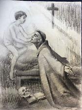 Jésus Christ enfant Moine capucin saint à identifier fusain anonyme fin XIX e XX