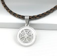 Silver Templar Cross Pearl Pendant Womens Mens Braided Brown Leather Necklace