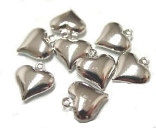 50 Antiqued Silver Puffy Heart Charm Beads