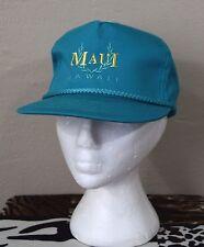 Vintage Maui Hawaii Trucker Style Hat CAp Snap Back Teal Retro Cord