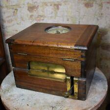Antique Gledhill Brook Time Recorder Huddersfield Table Top Oak Case