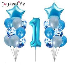 1 year Boy Birthday Blue Latex Balloons Confetti Set First 1st Birthday Baby Sho