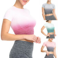 Ladies Womens Ombre Sports Gym Yoga Fitness Workout Short Sleeve Tops T-shirt