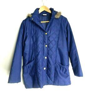 Anne De Lancay Coat Women's Size M Blue Padded Hooded Jacket