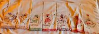 7 Vintage Each Day of the Week Hand Embroidered Kitchen Dish Towels