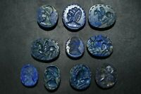 Lot Sale 10 Genuine Old Near Eastern Lapis Lazuli Stone Intaglio Seals Pendants