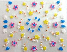 Accessoire ongles: nail art - Stickers autocollants - fleurs et étoiles filantes