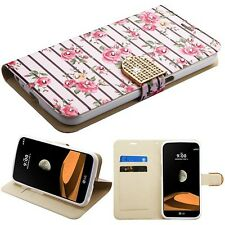 For LG V9 X Calibur X Venture BLING Leather Diamond Flip Wallet Case Cover Pouch