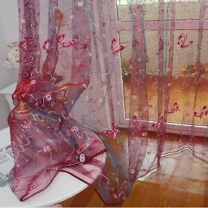 Romantic Modern Embroidered Sequins Butterfly Rustic Sheer Purple Voile Curtains