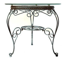 Coffee Table or Side Table Hand Crafted with Iron Frame and Clear Glass Top D27
