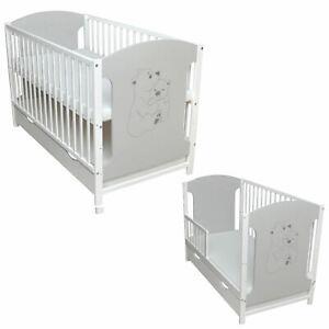 Babybett Kinderbett Schutzgitter 2in1 Teddy 120x60 Weiß Grau Matratze Schublade