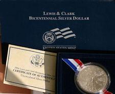 2004 BU Lewis & Clark Bicentennial Silver Dollar Commemorative Coin Set Box COA