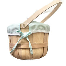 """Spritz Chipwood Holiday Easter Basket With Blue Plaid Line 9"""" Home Decor NEW"""