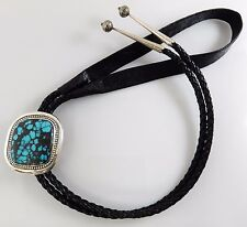 DeSantis Unique Handmade Sterling Silver Blue Nevada Turquoise Bolo Tie Jewelry