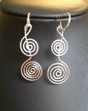 Brand New Unique Solid Sterling Silver Swirl/Music Note Design Drop Earrings