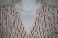 DUSTY PINK PRINTED SHEER CANDIES BUTTON DOWN LONG SLEEVE TOP SIZE L