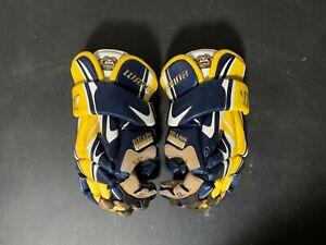 "Barely Used Warrior Lacrosse Brass Monkey Custom 13"" Blue & Yellow Gloves Rare"