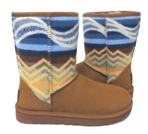 New Ugg Classic Short Pendleton Chestnut Southwest Aztec Shearling Boots RARE 9