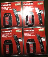Set of 4 HUSKY Folding Utility Knife with 100-pack Blades NEW Husky 1004696192