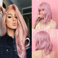 Long Short Bob Straight Pink Wig with Bangs Cosplay Party Synthetic Full Wigs US