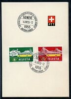 SWITZERLAND  SPECIAL UNITED NATIONS 16.VIII.55 SPECIAL CANCEL ON PTT PRES FOLDER