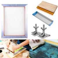 -US  Screen Printing Kit Aluminum Frame Hinge Clamp Emulsion Coater Squeegee Set