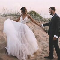 Beach Wedding Dresses V-Neck Appliques Lace Tulle Backless Boho Bridal Gowns