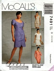 90s McCall's Sewing Pattern 7491 Misses Front Buttoned Dress Top Skirt Sz 12-16