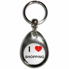 I Love Heart Shopping - Chrome Tear Drop Double Sided Key Ring New